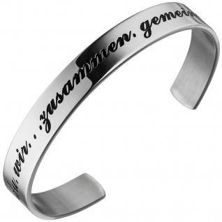 Armspange / offener Armreif aus Edelstahl Armband ich du wir