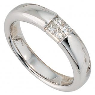 Damen Ring 585 Gold Weißgold 4 Diamanten 0, 24ct.Prinzess-Schliff Goldring
