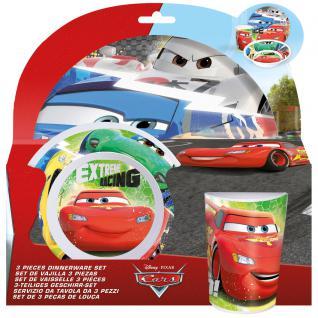 CARS Kinder Frühstücks-Set 3-teilig aus Melamin Kindergeschirr