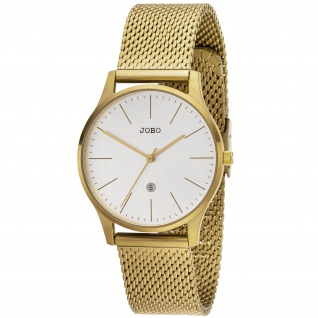 JOBO Damen Armbanduhr Quarz Analog Edelstahl vergoldet Datum Damenuhr