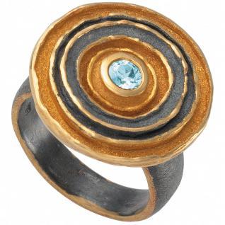 Damen Ring 925 Sterling Silber bicolor 1 Blautopas hellblau blau Silberring