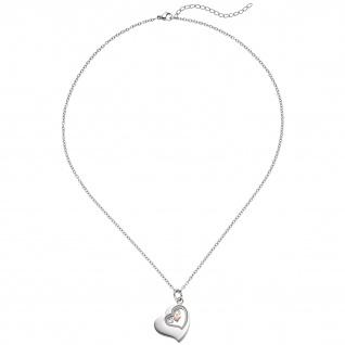 Collier Kette mit Anhänger Herz Edelstahl rotgold vergoldet 47 cm Halskette