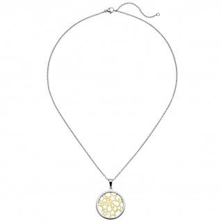 Collier Kette mit Anhänger Sterne Edelstahl bicolor vergoldet matt 50 cm