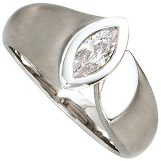 Damen Ring 925 Sterling Silber rhodiniert mattiert 1 Zirkonia Silberring