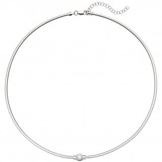 Collier Halskette 925 Sterling Silber 1 Zirkonia 46 cm Kette - Vorschau 2