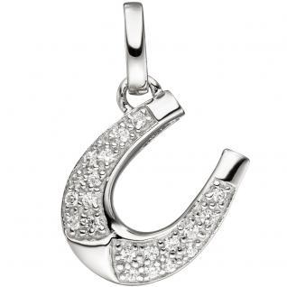 Anhänger Hufeisen 925 Sterling Silber mit Zirkonia Silberanhänger Glücksbringer