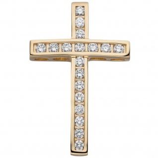 Anhänger Kreuz 585 Gold Gelbgold 18 Diamanten Brillanten Kreuzanhänger