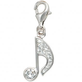 Einhänger Charm Musik Note Musik 925 Sterling Silber mit Kristallsteinen
