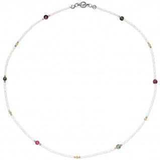 Halskette Kette mit Perlen Peridot Turmalin 45 cm