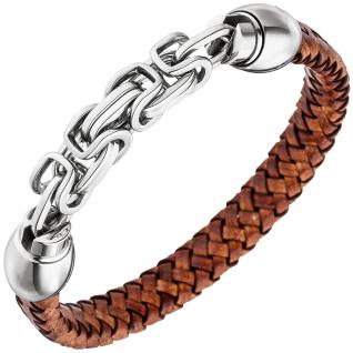 Herren Armband Leder braun geflochten mit Edelstahl 21 cm Herrenarmband