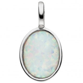 Anhänger 925 Sterling Silber 1 Opal-Imitation oval