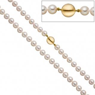 Perlenkette aus Akoya Perlen 45 cm Schließe 925 Silber gold vergoldet matt