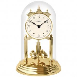 AMS 1201 Tischuhr mit Drehpendel Jahresuhr Drehpendeluhr Messing Optik golden