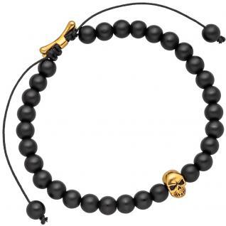 Armband Zugarmband Totenkopf mit Onyx-Perlen schwarz und Edelstahl 19, 5 cm