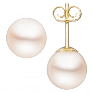 Ohrstecker 333 Gold Gelbgold 2 Süßwasser Perlen 8, 5 mm