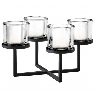 Blomus Kerzenleuchter NERO Stahl pulverbeschichtet mit Glas kombiniert