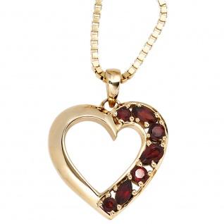 Anhänger Herz 585 Gold Gelbgold 7 Granate rot Herzanhänger Granatanhänger - Vorschau 3