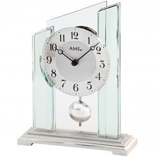 AMS 1168 Tischuhr Quarz mit Pendel silbern Metall mit Glas