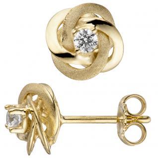 Ohrstecker verschlungen 333 Gold Gelbgold teil matt 2 Zirkonia Ohrringe