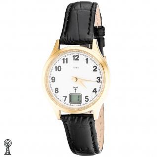JOBO Damen Armbanduhr Funk Funkuhr Edelstahl vergoldet Leder Datum Damenuhr