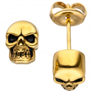 Ohrstecker Totenkopf Schädel aus Edelstahl gold farben beschichtet Ohrringe