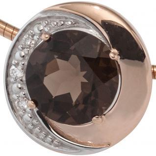 Anhänger rund 585 Rotgold bicolor 3 Diamanten Brillanten 1 Rauchquarz braun - Vorschau 2