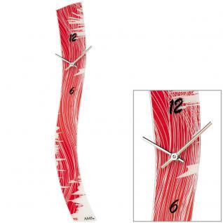 AMS 9453 Wanduhr Quarz analog rot modern geschwungen schmal