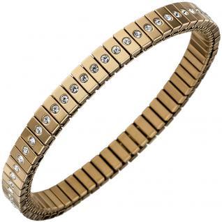 Armband Edelstahl gold farben beschichtet mit Zirkonia rundum 19 cm