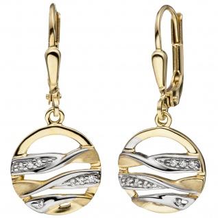 Ohrhänger rund 333 Gold Gelbgold bicolor matt mit Zirkonia Ohrringe Goldohrringe