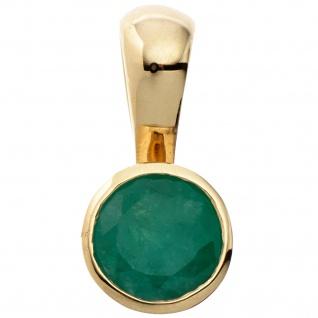 Anhänger rund 333 Gold Gelbgold 1 Smaragd grün Goldanhänger
