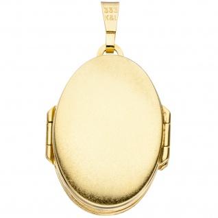 Medaillon oval mit Blumen Muster 333 Gold Gelbgold zum Öffnen für 6 Fotos - Vorschau 2