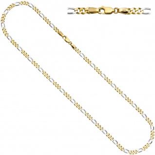 Figarokette 333 Gelbgold Weißgold bicolor 3, 9 mm 45 cm Gold Kette Goldkette