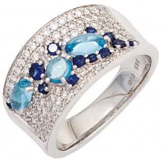 Damen Ring 585 Gold Weißgold 12 Safire blau 3 Blautopase hellblau 81 Diamanten