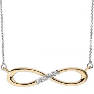 Collier Halskette Unendlich 585 Gold bicolor 5 Diamanten Brillanten Kette - Vorschau 2