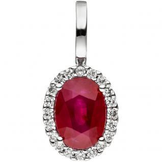 Anhänger 585 Gold Weißgold 20 Diamanten Brillanten 1 Rubin rot Rubinanhänger