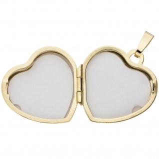 Medaillon Herz Anhänger zum Öffnen für Fotos 333 Gold 3 Zirkonia mit Kette 45 cm - Vorschau 5