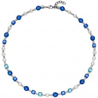 Halskette mit Kristallsteinen und Edelstahl 47 cm