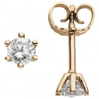 Ohrstecker 585 Gold Rotgold 2 Diamanten Brillanten 0, 50 ct. Ohrringe