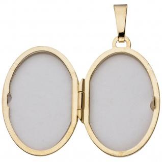 Medaillon oval für 2 Fotos 333 Gold Gelbgold bicolor matt Anhänger zum Öffnen - Vorschau 3