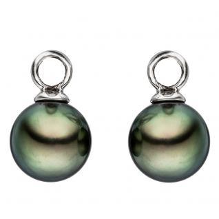Creolen 585 Gold Weißgold 2 Tahiti Perlen Ohrringe Perlenohrringe - Vorschau 3