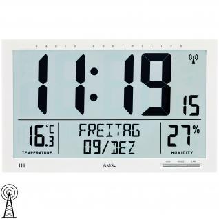 AMS 5887 Wanduhr Tischuhr Funk Funkwanduhr digital weiß Datum Thermometer Wecker