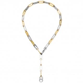 Y-Collier Halskette Edelstahl gelbgoldfarben beschichtet 47 cm