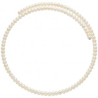 Halsreif aus Süßwasser Perlen weiß Perlenkette Perlencollier Perlenreif flexibel