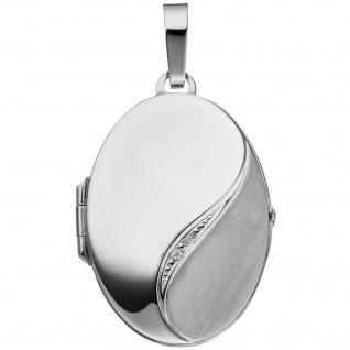 Medaillon oval 585 Gold Weißgold mattiert 2 Diamanten Anhänger zum Öffnen