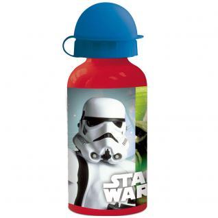STAR WARS Kinder Trinkflasche aus Aluminium rot blau 400 ml