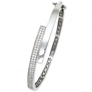 Armreif Armband oval 925 Silber mit Zirkonia Silberarmreif Kastenschloss