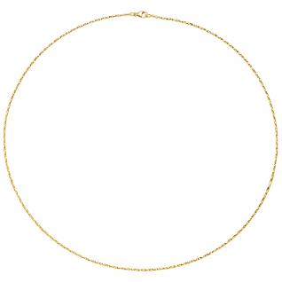 Collier Halskette 750 Gold Gelbgold diamantiert 1, 0 mm 42 cm Kette Goldkette