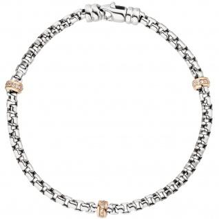Armband 585 Gold Weißgold Rotgold bicolor 39 Diamanten Brillanten 19 cm - Vorschau 2