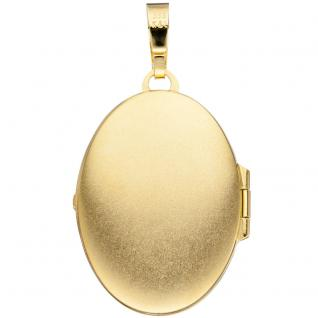 Medaillon oval für 2 Fotos 333 Gold Gelbgold matt Anhänger zum Öffnen - Vorschau 2