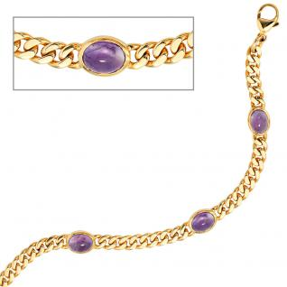 Armband 585 Gold Gelbgold 19 cm 4 Amethyst-Chabochons lila violett Goldarmband